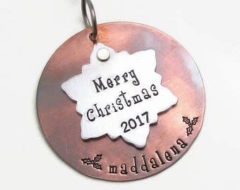 Snowflake Ornament, Family Christmas Ornament, Personalized Christmas Ornament, Hand Stamped Personalized Ornament, Family Ornament