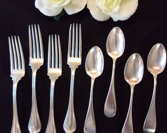 sterling silver flatware,(4)forks,(4)spoons,monogrammed,Bigelow,Kennard & Co,formal,ornate,dining,vintage forks,vintage spoons,high end,gift