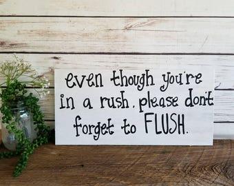 Bathroom Signs, Bathroom Rules Sign, Flush the Toilet, Bathroom Wall Art, Bathroom Decor, Restroom Sign, Rustic Bathroom Sign