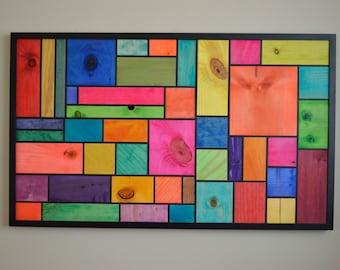 Abstract Blocks - Wood Blocks - Hand Made - Wall Decor - Home Decor - Wall Hanging - Colorful