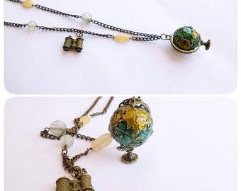 Necklace globe travel world explorers * Necklace Globe travel vojager