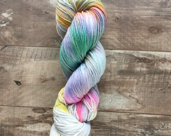Hand Dyed Sock Yarn, Superwash Merino Wool - Dragonfly Wing (Dyed to order)