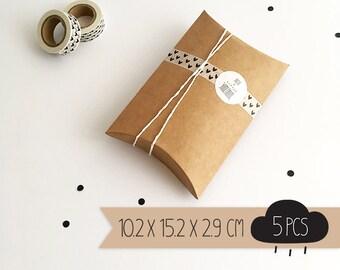 Pillow box / kraft brown / medium / 10,2 x 15,2 x 2,9 cm / 5 pieces