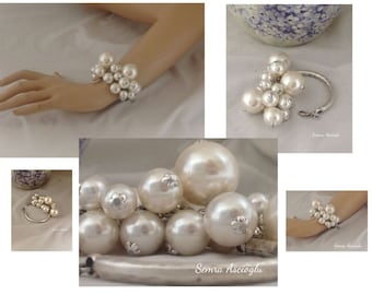 Pearl Christmas Gift, pearl bracelet chunky pearl bracelet for brides, bridesmaids gift