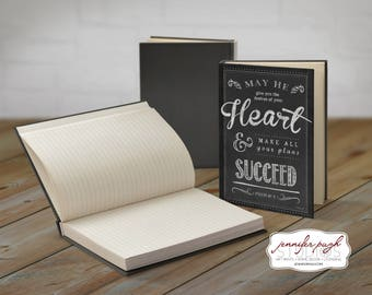 Psalm 20:4 5x7 Hardback Bound Journal -Inspirational, Word Art -Black White
