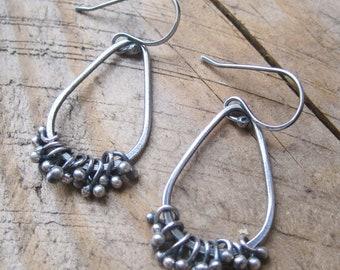 Silver Bramble Hoop Earrings, Teardrop Dangle Earrings, Fine Silver Jewelry, Silver Dangle Earrings