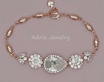 Crystal Wedding Bracelet, Rose Gold Bracelet, Crystal Bridal Bracelet, Swarovski Rhinestone Wedding Jewelry,   Rose Gold Bracelet