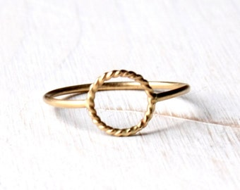 Open Circle  ring, solid 14k gold ring, Halo god ring, Open circle gold ring, Eternity ring, Karma ring handmade in solid gold