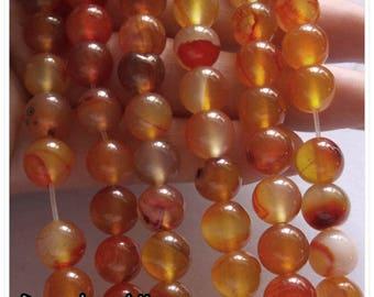 10pc - 8mm orange agate bead / clear 8 mm bead semi precious stone seed 8mm