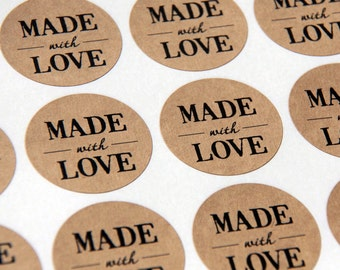 30 Made With Love Kraft Stickers or Envelope Seals -- 1.5 inch