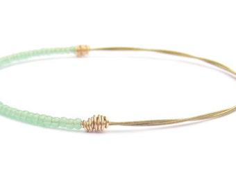 Beaded Bracelet // Seed Bead Jewelry // Mint Green Gold Bangle Bracelet // Eco-Friendly Bridesmaid Gift // Guitar String Bracelet // Recycle
