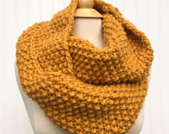 Mustard Yellow Oversized Scarf, chunky infinity scarf, chunky winter cowl, oversized chunky scarf, gift for her, winter scarf