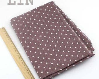 1 x coupon fabric 50x145cm pure linen light brown polka dots
