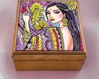 beautiful Indian woman art Indian decor bride art feminine beauty wall decor, keepsake box, treasure box, jewelry box, 3.5x3.5+