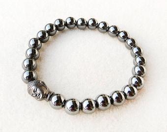 Buddha Bracelet, Mens Jewelry, Hematite, Gray, Silver, Black, Mala, Zen, Stretch, Handmade, Bracelet for Man, Gift for Him, Gift for Man