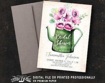 Rustic Bridal Shower Invitation | Printed OR Printable Digital File DIY | Pink Poppies Flower Garden Watering Can Bridal Shower Invitation