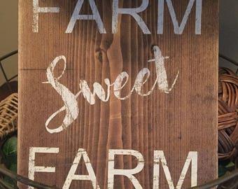 Farm Sweet Farm- wood farmhouse sign
