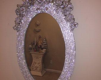 Rhinestone wall mirror custom