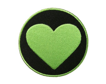 Green Heart Embroidered Applique Iron on Patch