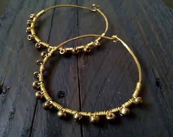 Brass hoop earrings, bohemian hoop earrings, seed beads hoop earrings, wire brass earrings, gypsy hoop earrings, large hoop earrings, tribal