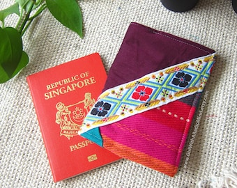 Passport Cover Folk / Holder - Boho, Ethnic, Repurposed Remnant Fabric Patchwork