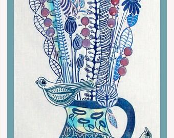 linocut, collage, floral collage, blue flowers, textile art, fiber art, one of a kind, original art, hand printed fabrics, unique collage