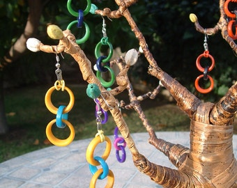 Dangling long tagua chained earrings mint green and other color block combinations