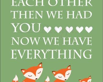 Woodland Nursery Print, Fox Nursery Decor, Orange Fox Decor, Owl Nursery Art - 11x14