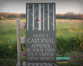 When a Cardinal Appears, In your Yard It's A, Visitor from Heaven, Memorial Gift, In memory of sympathy gift