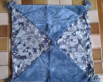 315) printed cotton and blue velvet pillow cover