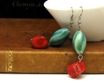 Red and Green Boho Dangle Drop Earrings Coral Porcelain  For  Her Under 40 US Free Shipping