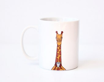 Giraffe mug - giraffe coffee cup christmas holiday stocking stuffer gift xmas giraffe coffee mug animal lover jungle orange giraffe