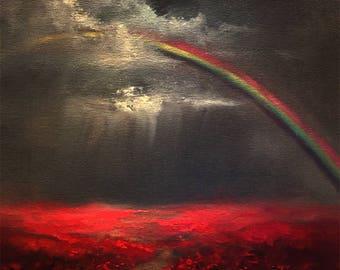 "Red Poppy Painting, Rainbow Painting,  Rainbow Art, Poppies Wall Art, Poppy Decor, Textured Painting, ""Promises"" Original 11x14"" Landscape"