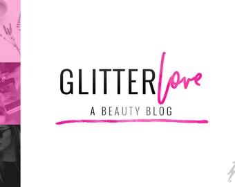 Premade Hot Pink Logo Design   Glamour Logo Design   Fashion Blog Header Design   Pink Blogger Header Design   Wordpress Logo   Beauty Logo