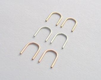 Modern Mini Threader Arches, Minimalist Earrings, 14 Karat Gold Fill or Eco Friendly Reclaimed Sterling Silver, Open Hoops, minimetal gift