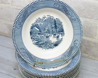 4 Currier and Ives flat soup bowls set of rimmed soup with 2 small defects,  blue transfer ware Royal China dishes Early Winter design