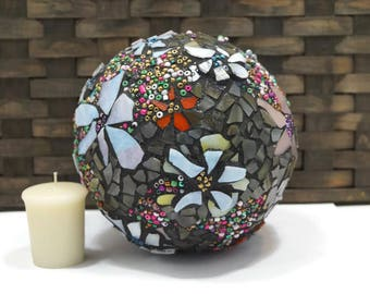 Where the Wild Flowers Are, Flower Mosaic, Stained Glass Flower Ball, Garden Mosaic Ball, Flower Globe, Home Decor Orb, Ball, Mediation Orb