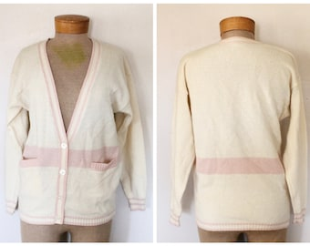Vintage 1970s/1980s Womens Ivory and Pink Striped Angora Wool Cardigan Sweater Letterman/Collegiate Style Size Medium/Large Bust 40