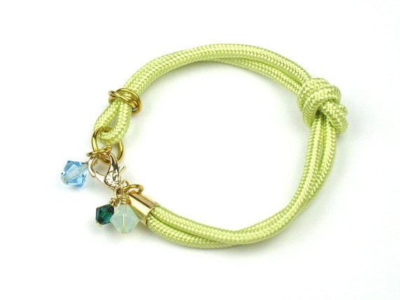 Rope Bracelet in Knotted Yellow Mokuba Cord with Swarovski Crystal Charms, Gift for Her by elle and belle