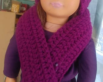 """American Girl 18"""" Doll Crocheted 2 Piece Matching Winter Beanie Hat Pom Pom and Scarf Raspberry Pink"""