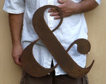 """AMPERSAND wall art custom sign 18"""" tall - metal symbol steel - choose your color with rust patina - ampersand art"""