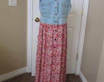 Womens vintage denim & cotton dress size Small  Carol Anderson