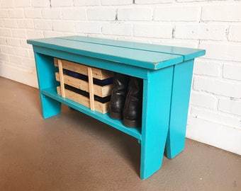 Wooden Bench in Color of Your Choice - Indoor Cottage Seating Schoolhouse Wood Bench Seat - Handmade Bench, Customizable