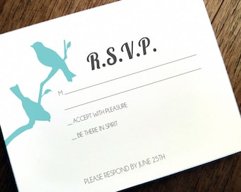 Printable RSVP Card - Response Card Download - Instant Download - RSVP Template - Response Card - Love Birds - 2 Birds - Birds on a Branch