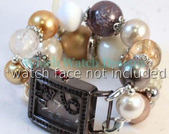 Fancy Free.. Stunning chunky, neutral-toned cream, beige, gray, gold and silver interchangeable beaded watch band