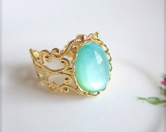 Frozen Blue Ring, Gold Ring, Turquoise Ring, Aqua Ring, Mint Ring, Quaint, Dainty, Modern, Rustic, Unique Gift, Fantasy Theme