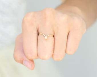 stackable ring. GOLD chevron ring. birthstone ring. stack ring. ONE modern minimalist stackable gold birthstone ring. 14k gold filled.