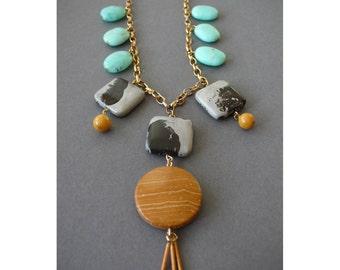 Handmade chunky contrasting stone necklace- jasper, chrysoprase, yellow jade and vintage brass fringe