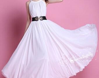 60 Colors Chiffon dress White Sleeveless Long Party Dress Evening Wedding Lightweight Sundress Summer Beach Bridesmaid Dress Maxi Skirt J014