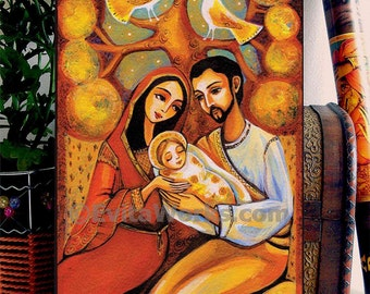 Tree of Life, Holy Family, Christian art, Mary and Joseph, baby Jesus, icon painting, home decor wall decor woman art, ACEO wood block, CG
